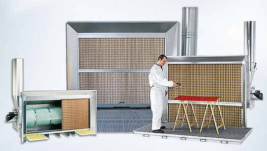 Overview of paint fog extraction walls from Schuko
