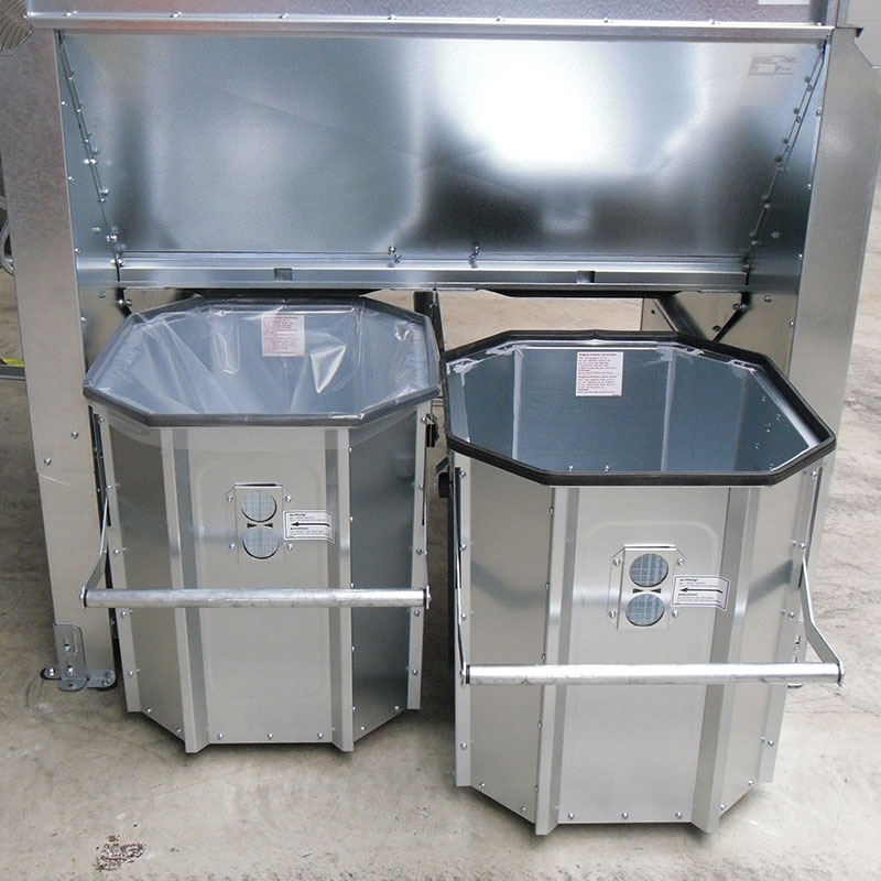 Bagging unit for two chips collector barrels for disposal via chip collection bags